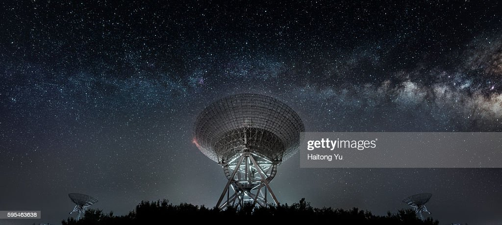Radio telescope at night : Stock Photo