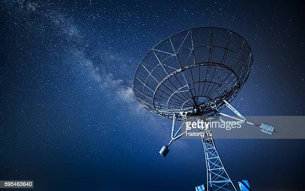 Radio telescope at night