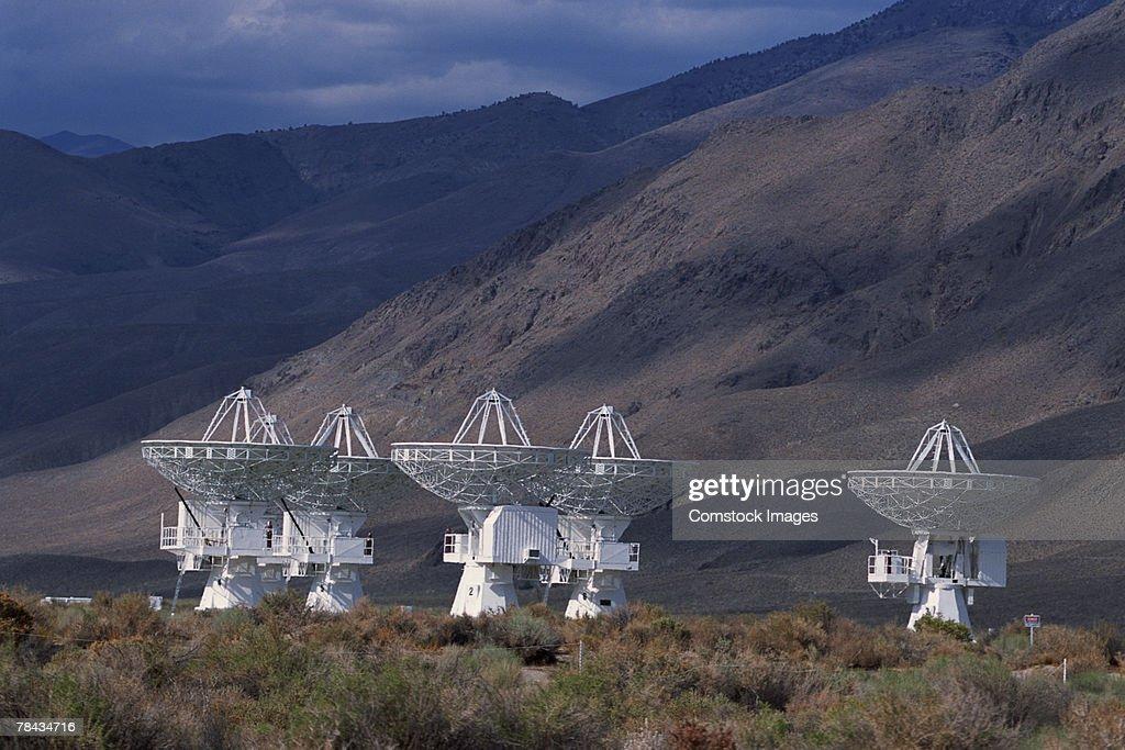 Radio telescopes , Owens Valley , California : Stockfoto