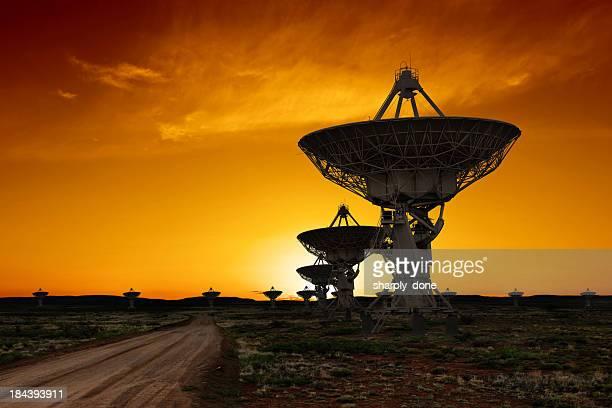 XL radio telescopes sunset