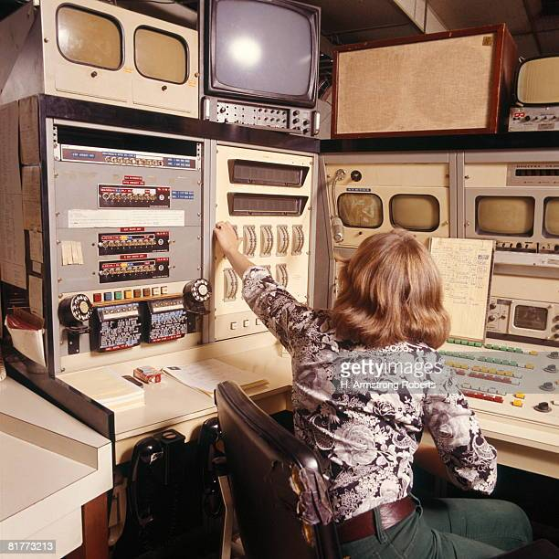 Radio Television Tv Producer Production Engineer Woman Working Sitting Retro.