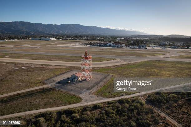 A radio tower near the main commercial air terminal at Santa Barbara Airport is viewed in this aerial photo taken on February 23 in Santa Barbara...