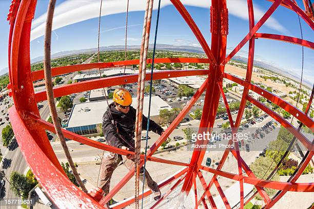 Radio Tower Worker Painting From High Up