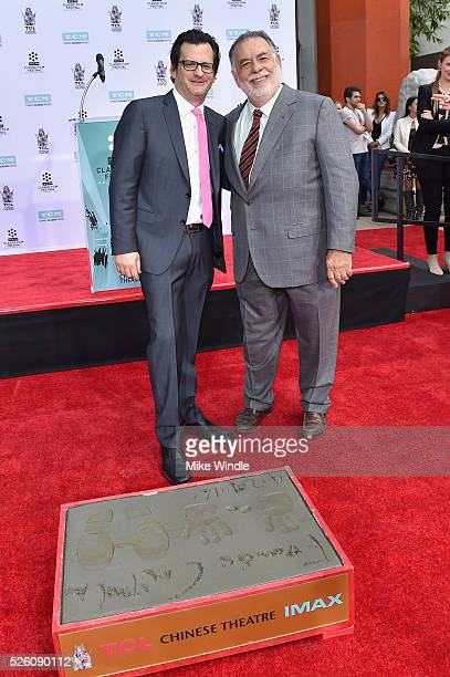 Radio TV personality Ben Mankiewicz and honoree Francis Ford Coppola attend the Francis Ford Coppola Hand and Footprint Ceremony during the TCM...