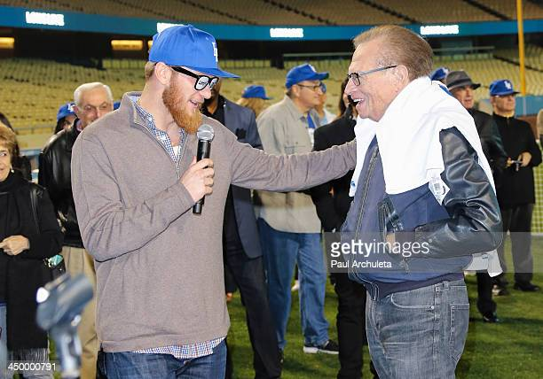 Radio / TV Personality Larry King and LA Dodger J P Howell attend a surprise party for Larry King's 80th Birthday at Dodger Stadium on November 15...