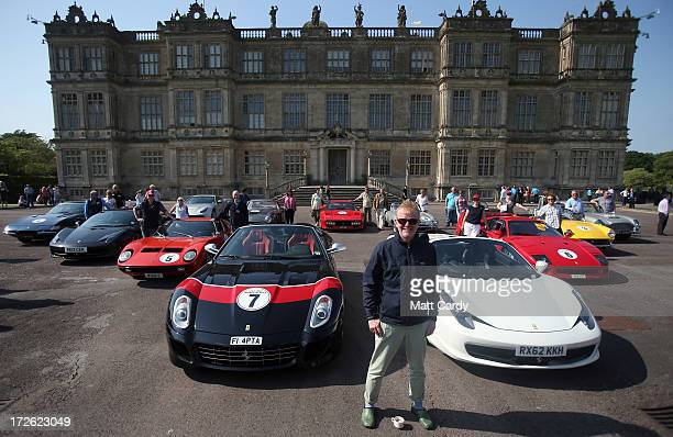 Radio Two DJ Chris Evans poses in front of Longleat House at Longleat Safari Park with a collection of exotic cars for Children in Need's 'Drive and...