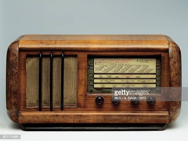 Radio with wooden framework, 1940s. Italy, 20th century. Italy