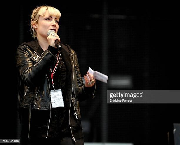 Radio X DJ Sunta Templeton introduces Chvrches at Leeds Festival at Bramham Park on August 27, 2016 in Leeds, England.