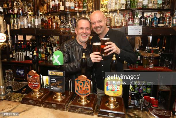 Radio X presenters Chris Moyles and Dominic Byrne attend the launch of Greene King's new ale Amplified produced in partnership with Radio X at The...