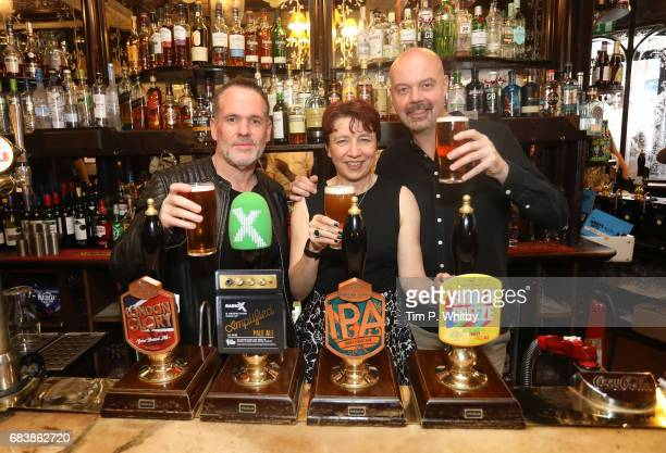 Radio X presenters Chris Moyles Dominic Byrne with Sue ThomasTaylor Greene King Locals brand director attend the launch of Greene King's new ale...