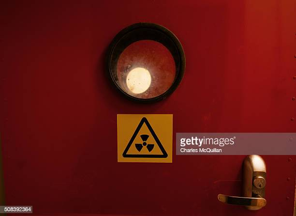 A radioactive warning sign can be seen on the door to the decontamination room at a nuclear bunker site on the Woodside Road industrial estate on...