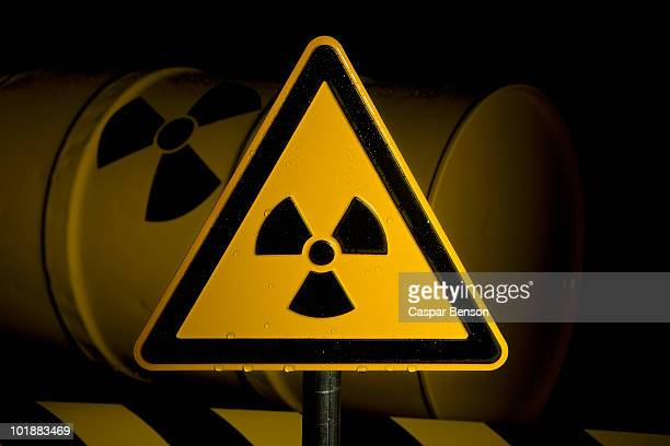 a radioactive warning sign - toxin stock pictures, royalty-free photos & images