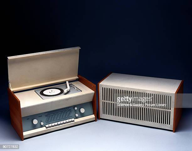 Radiogram incorporating a radio tuner turntable with repeat facility and 'L12' speaker designed by Dieter Rams for Braun