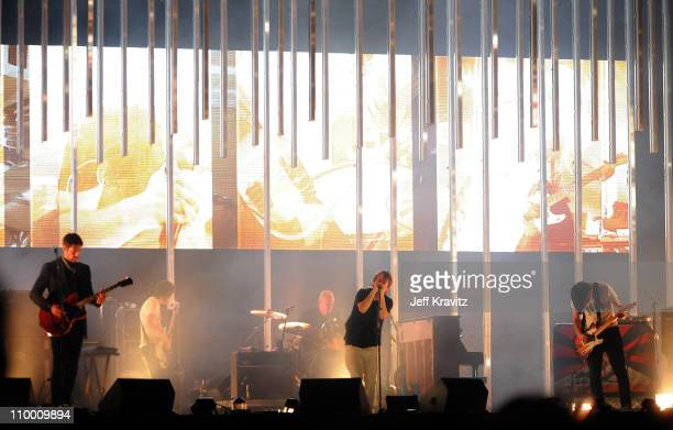 Radiohead performs on stage during the 2008 All Points West music and arts festival at Liberty State Park on August 8 2008 in Jersey City New Jersey