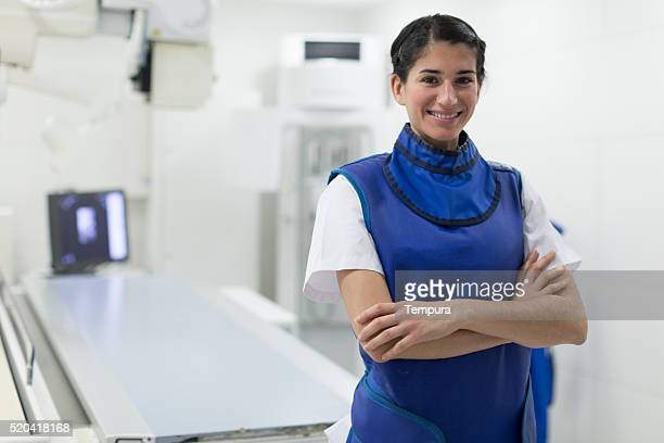 Radiologist nurse doing x-ray images.