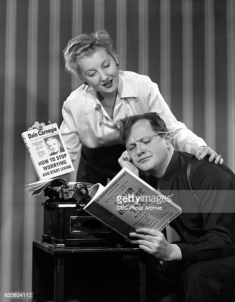 Radios light comedy and mystery program 'Mr and Mrs North' featuring Alice Frost and Joseph Curtin In this frame they try to figure out their income...