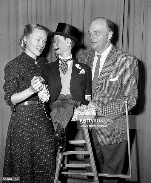 Radios The Edgar Bergen and Charlie McCarthy Show Pictured is Metropolitan Opera soprano Dorothy Kirsten with Ventriloquist Edgar Bergen and his...