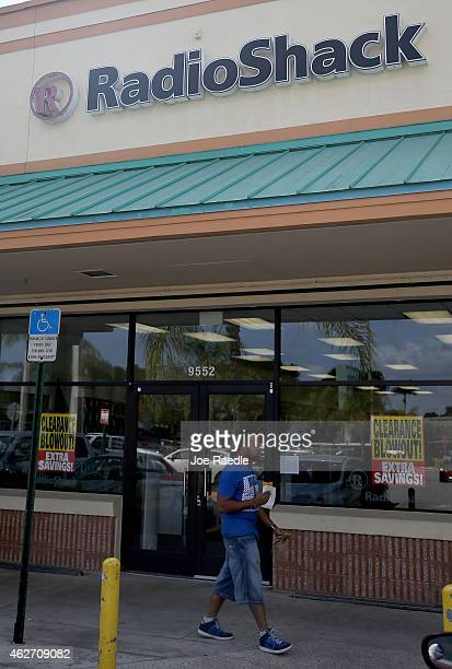 RadioShack sign is seen outside a store on February 3, 2015 in Miami, Florida. Reports indicate that the New York Stock Exchange will suspend trading...