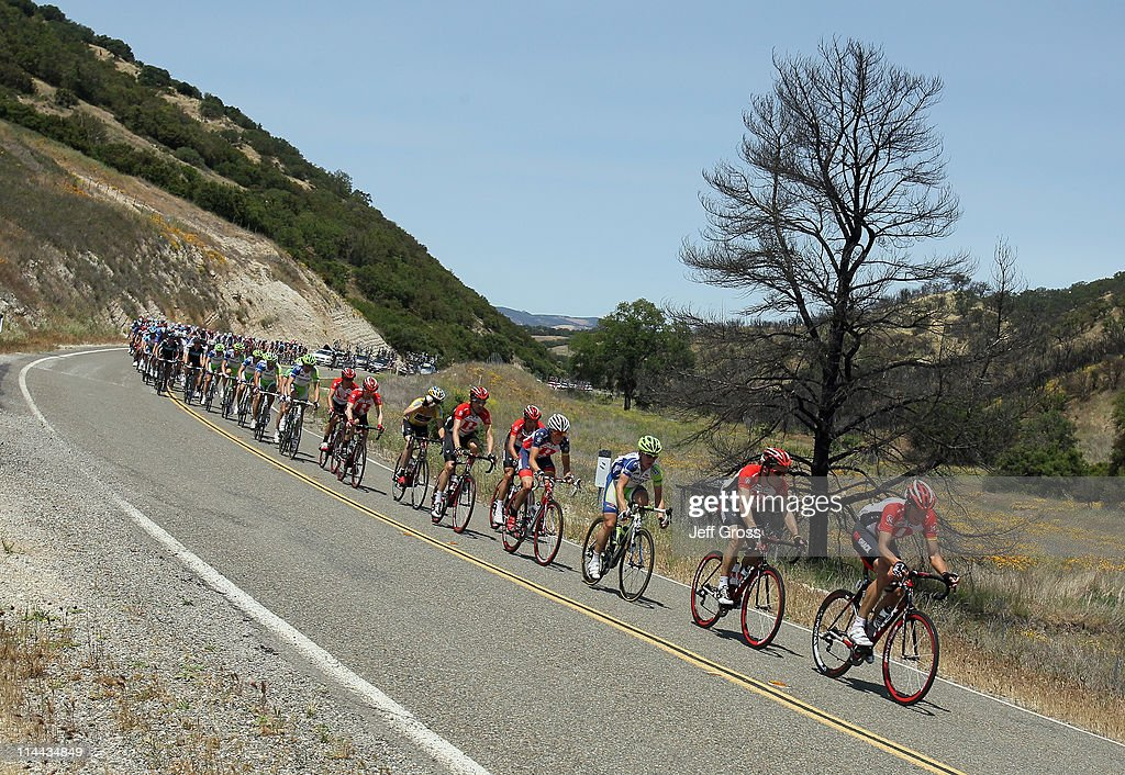 Radioshack team rider Jason McCartney (R) of the USA leads the peloton during stage five of the 2011 AMGEN Tour of California from Seaside to Paso Robles on May 19, 2011 in San Luis Obispo County, California.