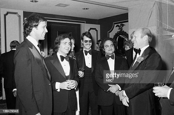 LIVE Radio/TV Correspondents' Dinner Pictured Chevy Chase Lorne Michaels Dan Aykroyd John Belushi President Gerald Ford on March 25 1976