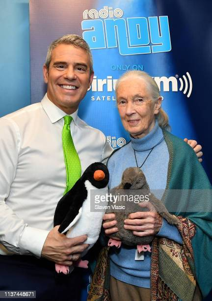 Radio/TV personality Andy Cohen and primatologist/anthropologist Jane Goodall pose for photos at Radio Andy at SiriusXM Studios on April 15, 2019 in...