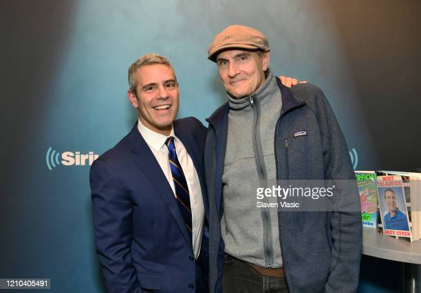Radio/TV personality Andy Cohen and singer/songwriter James Taylor pose for photos at Radio Andy at SiriusXM Studios on March 04, 2020 in New York...