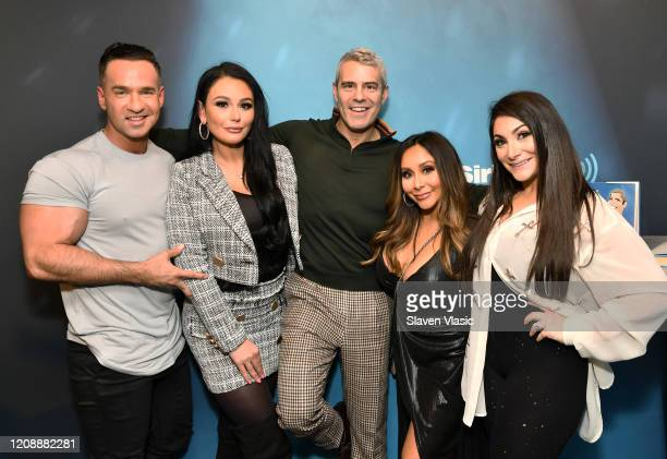 """Radio/TV personality Andy Cohen with cast members of reality television series """"Jersey Shore"""" Mike """"The Situation"""" Sorrentino, Jenni """"JWoww"""" Farley,..."""
