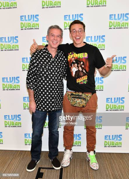 Radio/TV personality Elvis Duran and hip hop artist Logic pose for photos at the 'Elvis Duran Z100 Morning Show' at Z100 Studio on June 5 2017 in New...