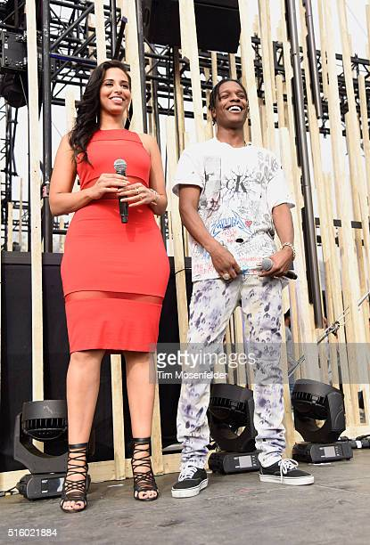 Radio/TV personality Nessa Ness Nitty and recording artist ASAP Rocky speak onstage during the 2016 MTV Woodies/10 For 16 on March 16 2016 in Austin...