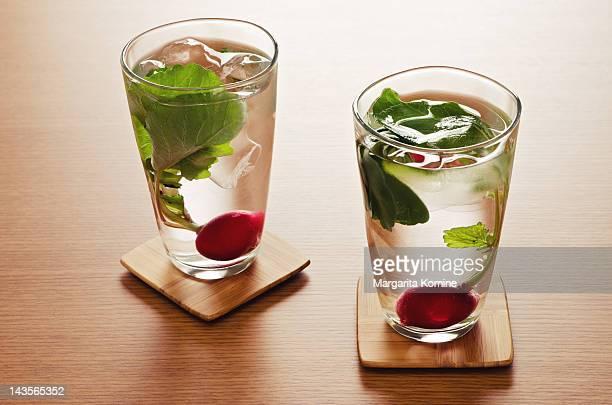 Radish water in glasses