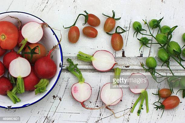 radishes and tomatoes - jill harrison stock pictures, royalty-free photos & images