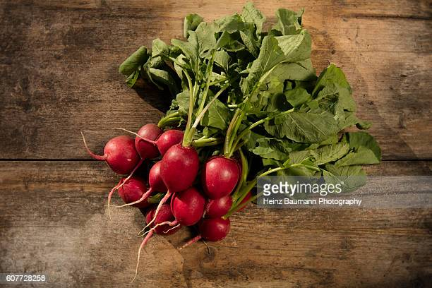 Radishes on a weathered garden table
