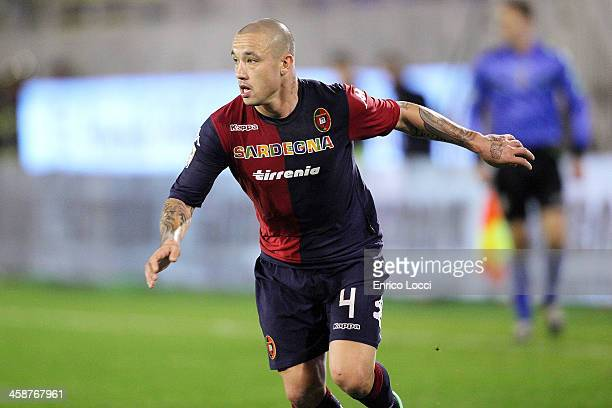 Radja Nainggolan in action during the Serie A match between Cagliari Calcio and SSC Napoli at Stadio Sant'Elia on December 21 2013 in Cagliari Italy