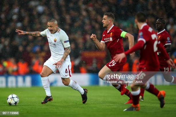 Radja Nainggolan of AS Roma and Jordan Henderson of Liverpool during the UEFA Champions League Semi Final First Leg match between Liverpool and AS...