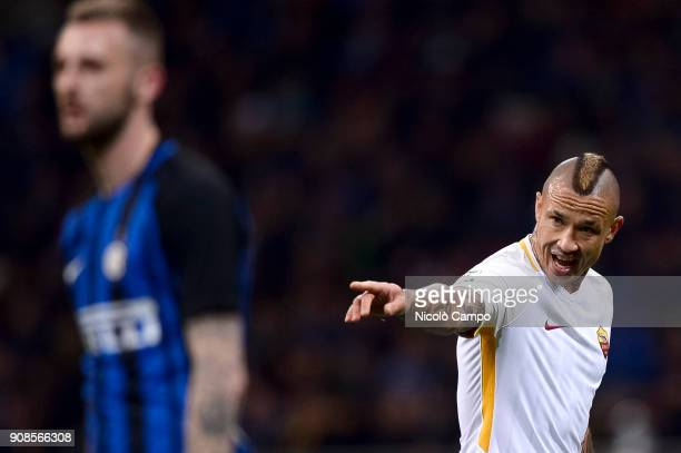 Radja Nainggolan of AS Roma gestures during the Serie A football match between FC Internazionale and AS Roma The match ended in a 11 tie