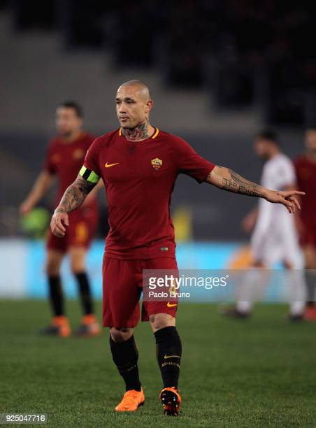 Radja Nainggolan of AS Roma gestures during the serie A match between AS Roma and AC Milan at Stadio Olimpico on February 25 2018 in Rome Italy