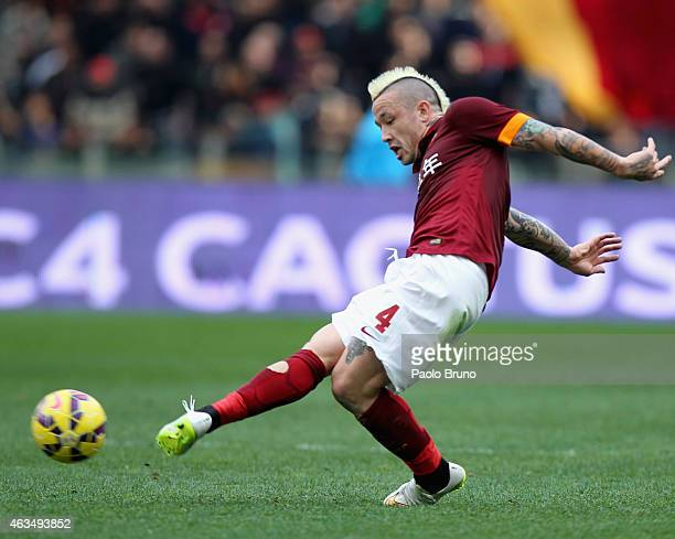 Radja Nainggolan of AS Roma in action during the Serie A match between AS Roma and Parma FC at Stadio Olimpico on February 15 2015 in Rome Italy