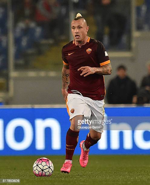 Radja Nainggolan of AS Roma in action during the Serie A match between AS Roma and FC Internazionale Milano at Stadio Olimpico on March 19 2016 in...
