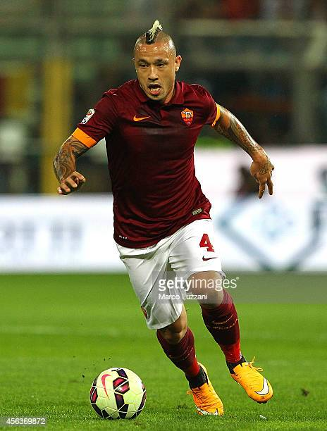 Radja Nainggolan of AS Roma in action during the Serie A match between Parma FC and AS Roma at Stadio Ennio Tardini on September 24 2014 in Parma...