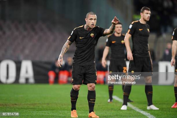 Radja Nainggolan of AS Roma in action during the serie A match between SSC Napoli and AS Roma Serie A at Stadio San Paolo on March 3 2018 in Naples...