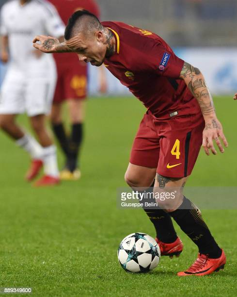 Radja Nainggolan of AS Roma in action during the UEFA Champions League group C match between AS Roma and Qarabag FK at Stadio Olimpico on December 5...