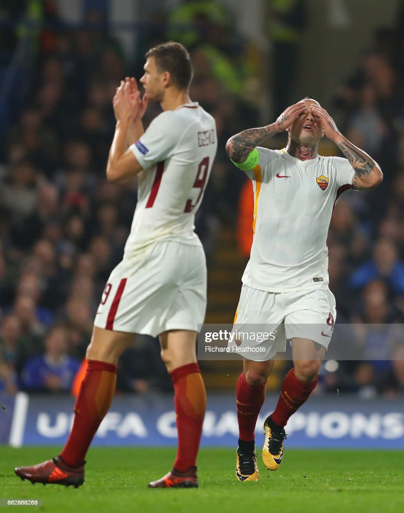 Radja Nainggolan of AS Roma reacts during the UEFA Champions League group C match between Chelsea FC and AS Roma at Stamford Bridge on October 18, 2017 in London, United Kingdom.