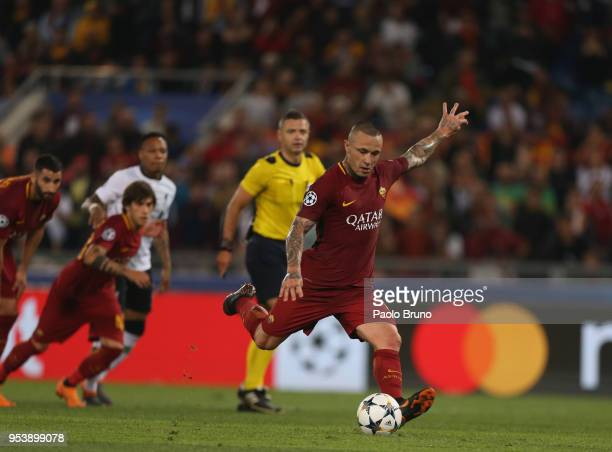 Radja Nainggolan of AS Roma scores the team's fourth goal during the UEFA Champions League Semi Final Second Leg match between AS Roma and Liverpool...