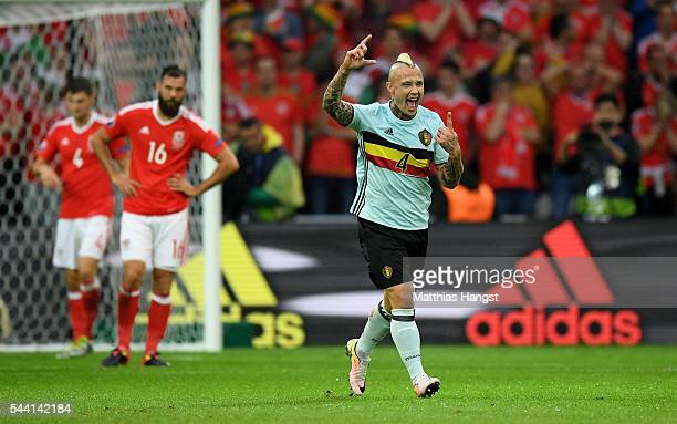 Radja Nainggolan of Belgium celebrates scoring his team's first goal during the UEFA EURO 2016 quarter final match between Wales and Belgium at Stade...