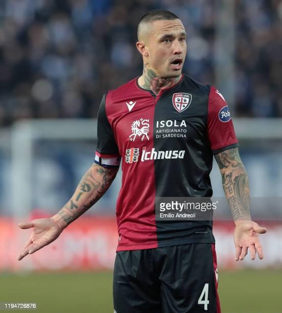 Radja Nainggolan of Cagliari Calcio reacts during the Serie A match between Brescia Calcio and Cagliari Calcio at Stadio Mario Rigamonti on January...