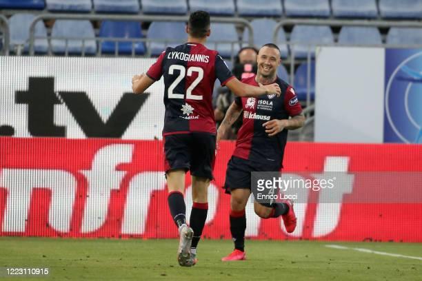 Radja Nainggolan of Cagliari celebrates his goal 30 during the Serie A match between Cagliari Calcio and Torino FC at Sardegna Arena on June 27 2020...