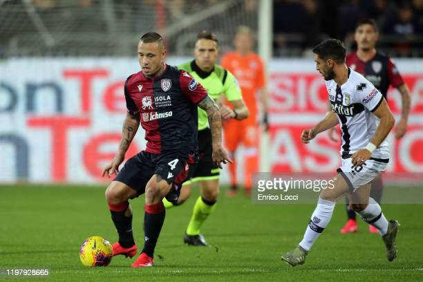 Radja Nainggolan of Cagliari in action during the Serie A match between Cagliari Calcio and Parma Calcio at Sardegna Arena on February 1, 2020 in...
