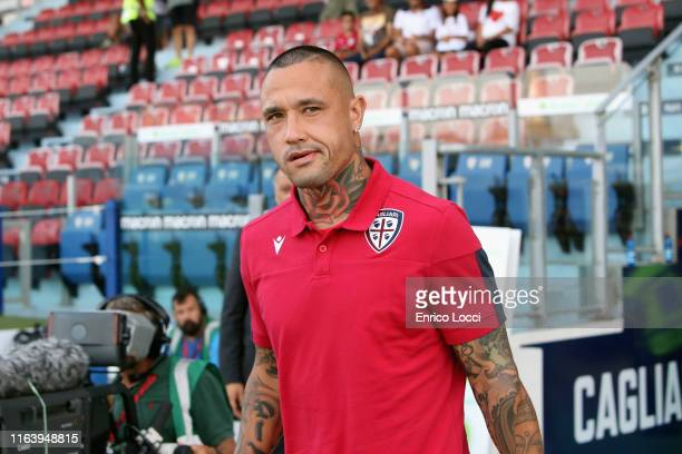Radja Nainggolan of Cagliari looks on during the Serie A match between Cagliari Calcio and Brescia Calcio at Sardegna Arena on August 25, 2019 in...