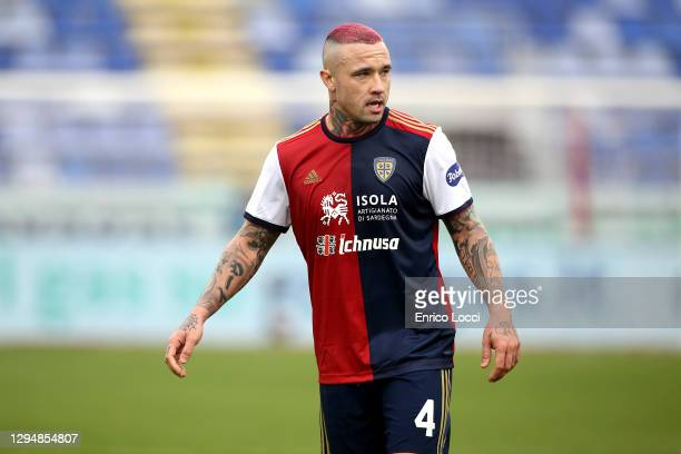 Radja Nainggolan of Cagliari looks on during the Serie A match between Cagliari Calcio and Benevento Calcio at Sardegna Arena on January 06, 2021 in...