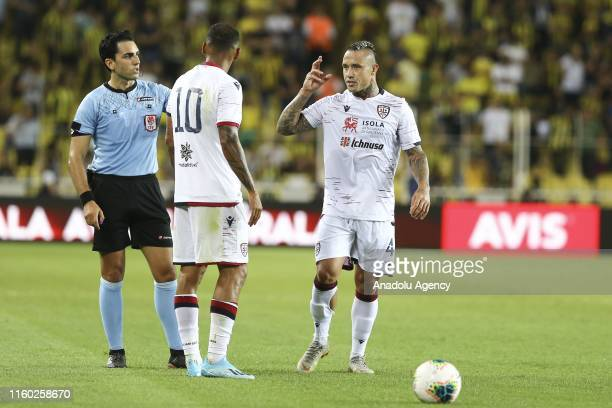 Radja Nainggolan of Cagliari objects to referee during a friendly match between Fenerbahce and Cagliari at Ulker Stadium in Istanbul, Turkey on...